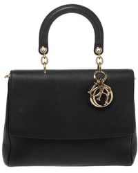 Dior Black Leather Large Be Flap Top Handle Bag