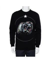 Givenchy Black Cotton Monkey Brothers Graphic Printed Crewneck Sweatshirt