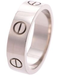 Cartier Love 18k White Gold Band Ring Size 59