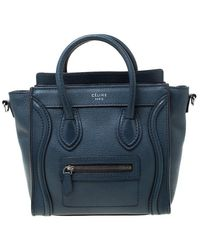Céline Prussian Leather Nano Luggage Tote - Blue