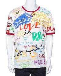 Dolce & Gabbana White Dubai Graffiti Print Cotton T-shirt