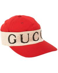 Gucci Red/off White Canvas Logo Band Baseball Cap