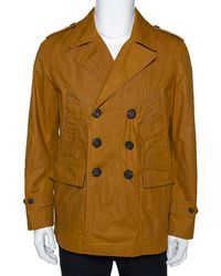 Burberry Malt Coated Cotton Folgate Double Breasted Coat - Yellow