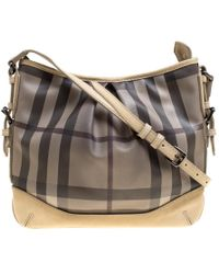 Burberry - Smoke Check Pvc And Leather Crossbody Bag - Lyst
