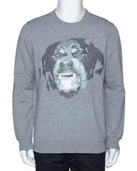 Givenchy Gray Knit Rottweiler Print Cuban Fit Crew Neck Sweater S