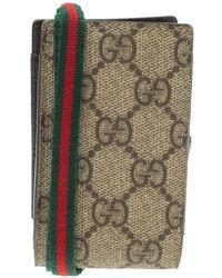Gucci Beige GG Supreme Canvas Shelly Strap Phone Case - Natural