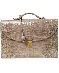 Bottega Veneta Grey Crocodile Briefcase