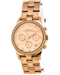 Marc By Marc Jacobs Rose Gold Plated Henry Mbm3118 Women's Wristwatch 38 Mm - Metallic