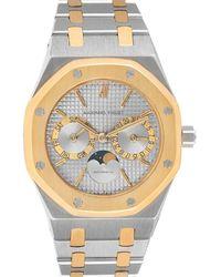 Audemars Piguet Silver 18k Yellow Gold And Stainless Steel Royal Oak Moonphase 25594 Wristwatch 36 Mm - Metallic