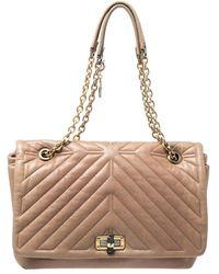 Lanvin Beige Quilted Leather Medium Happy Shoulder Bag - Natural
