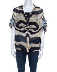 Roberto Cavalli Multicolor Striped Silk Batwing Sleeve Ruffled Top