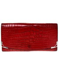 Cartier Red Alligator Must De Flap Wallet