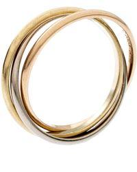 Cartier Trinity De 18k Three Tone Gold Xs Rolling Band Ring Size 51 - Metallic