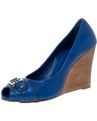 Tory Burch Blue Leather Caroline Scrunch Wedge Peep Toe Court Shoes