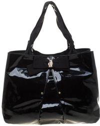 Ferragamo Patent Leather Tote - Black