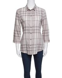 Burberry Brit Smoked Grey Checked Cotton Long Sleeve Button Front Shirt M - Gray