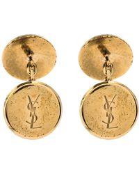 Saint Laurent Gold Tone Round Logo Cufflinks - Metallic