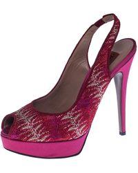 Missoni Pink Lace And Satin Peep Toe Slingback Platform Sandals