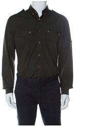 Lanvin Safari Green Cotton Button Down Shirt