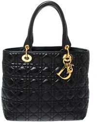 Dior Black Cannage Soft Leather Lady Tote