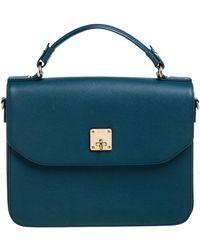 MCM Teal Leather Flap Top Handle Bag - Blue