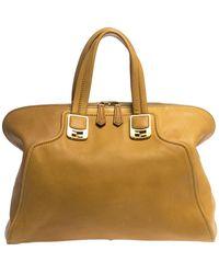 Fendi Mustard/brown Leather Chameleon Satchel - Yellow