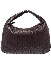 Bottega Veneta Brown Intrecciato Leather Large Veneta Hobo