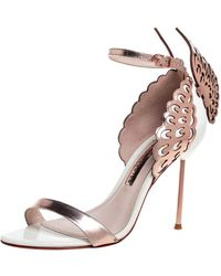 Sophia Webster Rose Gold/white Leather Evangeline Laser Cut Angel Wing Ankle Strap Sandals - Metallic