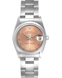 Rolex Salmon Stainless Steel Datejust 78240 Wristwatch 31 Mm - Pink
