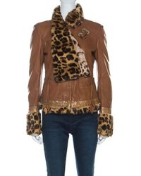 Roberto Cavalli Brown Leather Fur Lined Jacket