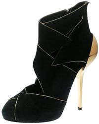 Giuseppe Zanotti Black Suede Ankle Booties Size 38