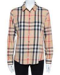Burberry Brit Beige Nova Check Stretch Cotton Button Front Shirt - Natural