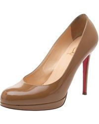 Christian Louboutin Beige Patent Leather New Simple Platform Court Shoes - Natural