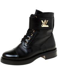 Louis Vuitton Black Leather Wonderland Ranger Ankle Boots Size 38