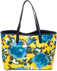 Marc By Marc Jacobs Multicolour Floral Print Coated Canvas Tote - Blue