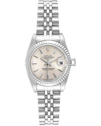 Rolex Silver 18k White Gold And Stainless Steel Datejust 69174 Women's Wristwatch 26 Mm - Metallic