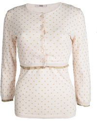 RED Valentino Baby Pink Knit Polka Dotted Top And Cropped Cardigan Set