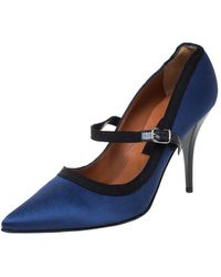 Lanvin Blue/black Satin Mary Jane Pointed Toe Pumps