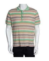 Missoni Misson Pastel Chevron Pointelle Knit Polo T-shirt Xxl - Green
