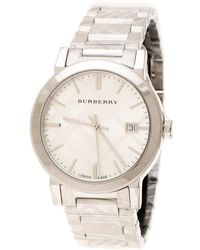 Burberry Silver Check Stamped Stainless Steel The City Bu9037 Unisex Wristwatch 38 Mm - Metallic