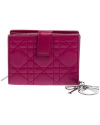 Dior Fuchsia Cannage Leather French Compact Wallet - Pink