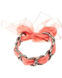 Chanel - Chain Link Fabric Self Tie Choker Necklace - Lyst