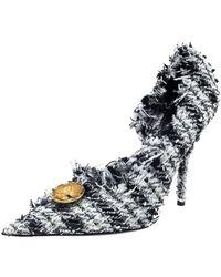 Balenciaga - Black/white Tweed D'orsay Pump - Lyst