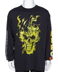 Heron Preston Black Cotton Graphic Skull Print Long Sleeve T Shirt