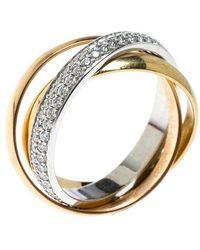 Cartier Trinity De Diamond & 18k Three Tone Gold Rolling Ring Size 48 - Metallic