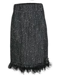 CH by Carolina Herrera - Monochrome Textured Fringed Ostrich Feather Trim Skirt Xl - Lyst
