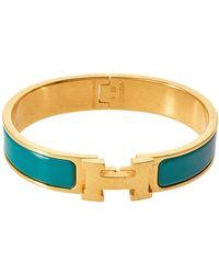 Hermès Hermès Clic H Green Enamel Gold Plated Narrow Bracelet Pm