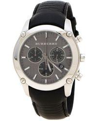 Burberry Grey Stainless Steel Bu1588 Chronograph Men's Wristwatch 41 Mm - Black