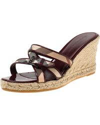 Burberry Burgundy Patent Leather And Nova Check Canvas Espadrille Wedge Sandals Size 40 - Multicolor