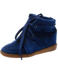 Isabel Marant - Blue Suede Bobby Lace Up Wedge Sneakers Size 36 - Lyst
